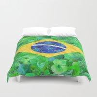 brasil Duvet Covers featuring BRASIL em progresso by Bianca Green