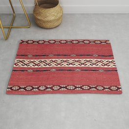Triangle Stripe Kilim IV 19th Century Authentic Colorful Red Black White Vintage Patterns Rug