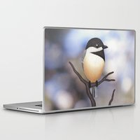 marley Laptop & iPad Skins featuring Marley the black-capped chickadee by Sarah Knight