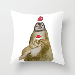 Happy Holidays Penguins Throw Pillow