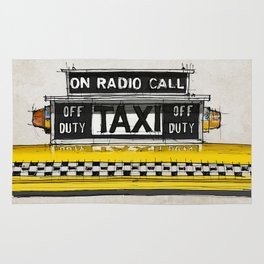 Yellow cab of New York sketch, on radio call, off duty Rug