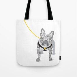 Typographic French Bulldog - Black and White Tote Bag