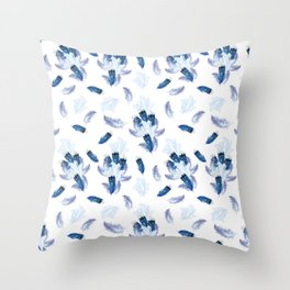 Soft Blue,White and Lilac Feathers as a Repeat Seamless Pattern Throw Pillow