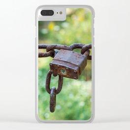 Rusty lock, private property! Clear iPhone Case