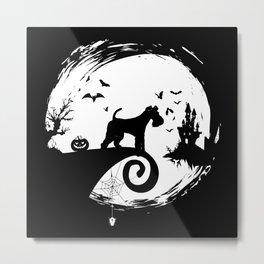 Fox Terrier Halloween Costume Moon Silhouette Metal Print