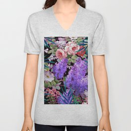 BLACK VINTAGE ROSE FLOWERS BLUE  PALMS ART Unisex V-Neck