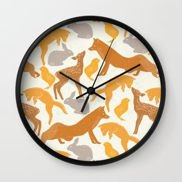 Deer Fox Rabbit Chick Playing Wall Clock