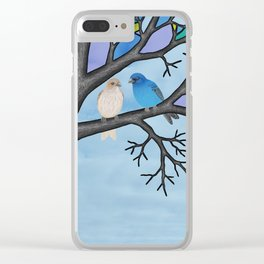 indigo buntings in the stained glass tree Clear iPhone Case