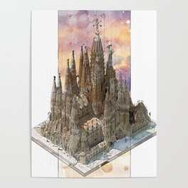Barcelona Sagrada Familia - axonometric Poster