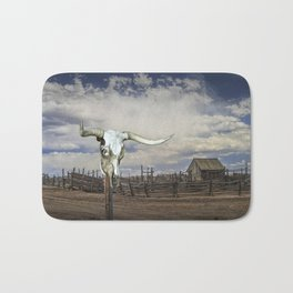 Steer Skull and Western Fenced Corral Bath Mat