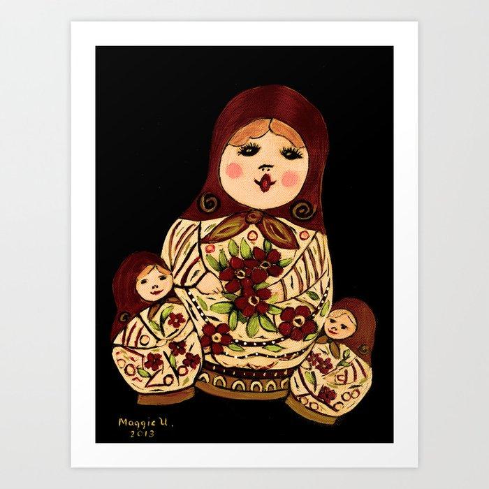 Russian dolls 2 / warmer colors  Art Print