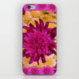 Stylized  Burgundy Purple & Yellow Chrysanthemums Floral Garden iPhone Skin