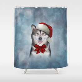 Drawing Husky dog in red hat of Santa Claus Shower Curtain