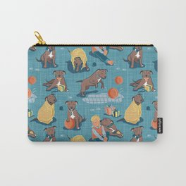 Memories of a Sweet Pit Bull Doggie Friend named Venice // blue linen texture background Carry-All Pouch
