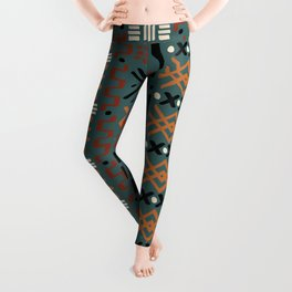 Mudcloth No. 2 in Tri-Color Green Leggings