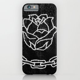 Rose and Chain Embroidery iPhone Case