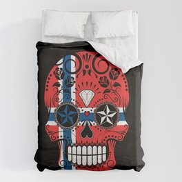 Sugar Skull with Roses and Flag of Norway Duvet Cover