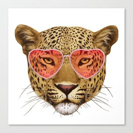 Leopard in Love! Portrait of Leopard with sunglasses. Canvas Print