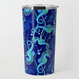 Seahorse cute blue sea animal Vector Seamless Pattern Textile Design Travel Mug