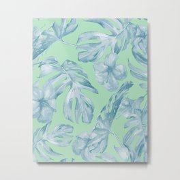 Tropical Leaves and Flowers Luxe Pastel Sea Turquoise Blue Green Metal Print