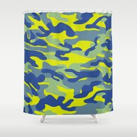 military Shower Curtains featuring Yellow Military Camouflage Pattern by SW Creation
