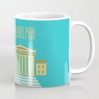 philadelphia Mugs featuring Philadelphia by Marina Design