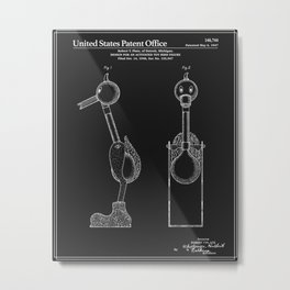Drinking Bird Patent - Black Metal Print