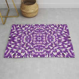 Royal Purple Symmetrical Mandala Flower - Geometric Abstract Decorative Floral Art - Boho Free Spirit Rug