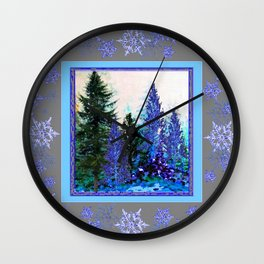 GREY WINTER SNOWFLAKE  CRYSTALS FOREST ART Wall Clock