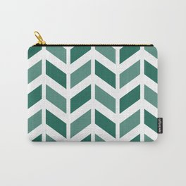 Teal green and white chevron pattern Carry-All Pouch