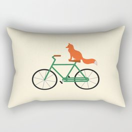 Fox Riding Bike Rectangular Pillow