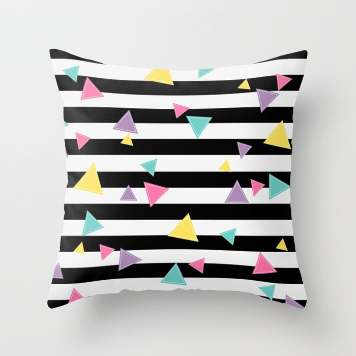 80's Black White Colorful Triangle Throw Pillow
