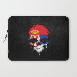 Flag of Serbia on a Chaotic Splatter Skull Laptop Sleeve
