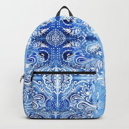 Blue and White Batik Pattern Backpack