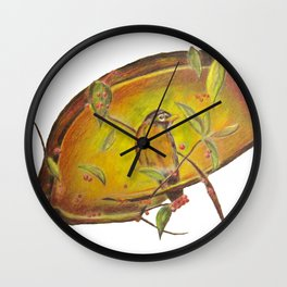 Festive Christmas Bird on a Berry Tree for Autumn and the Holidays Wall Clock