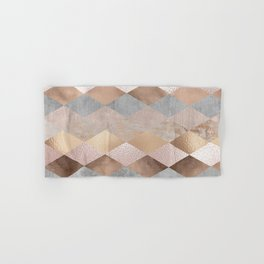 Copper and Blush Rose Gold Marble Argyle Hand & Bath Towel