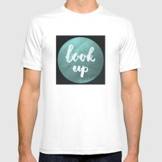 look up White Mens Fitted Tee MEDIUM