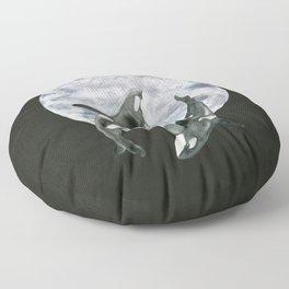 orcas' moon dance Floor Pillow