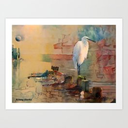 Snowy Egret Sunrise Art Print