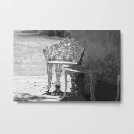 Black and White Seating Area Fort Stanton New Mexico Metal Print