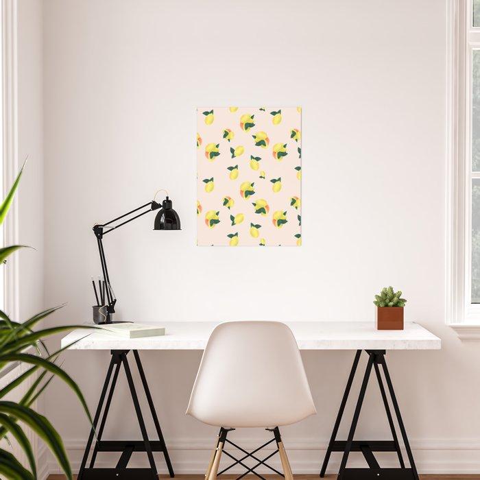 Lemons and Oranges - Pink Poster