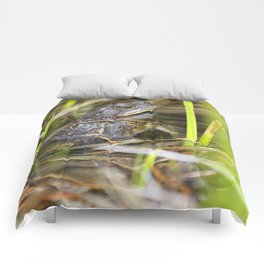 Toad in the pond Comforters