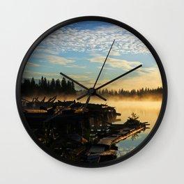 Trestle in mist at sunrise Wall Clock