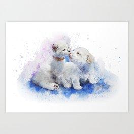 Puppy & Kitten Watercolor Art Print
