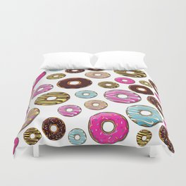 Donut Pattern, Colorful Donuts - Pink Blue Yellow Duvet Cover