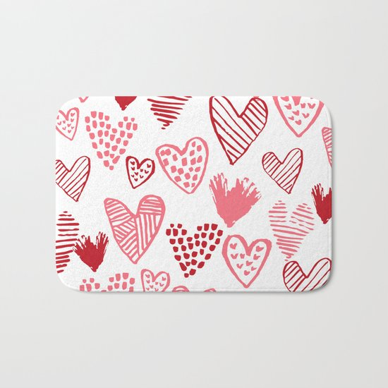 Hearts red and white hand drawn minimal modern fun valentines day gifts Bath Mat