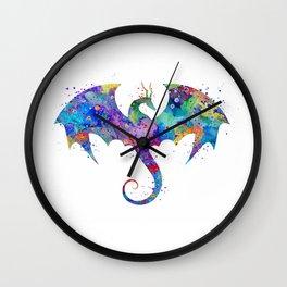Dragon Colorful Watercolor Art Wall Clock