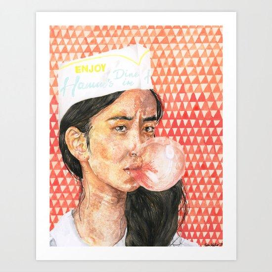 Bubblegum Girl Art Print