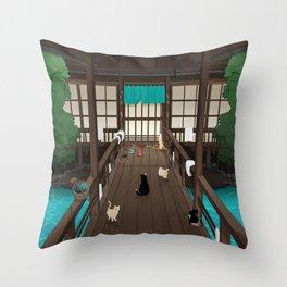 A Japanese summer night Throw Pillow
