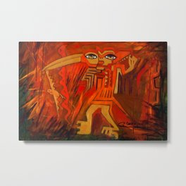 Indigenous Inca Ceremonial Shaman and Firebird portrait painting by Ortega Maila Metal Print